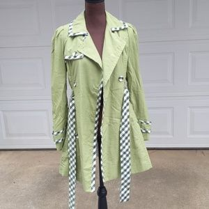 Forever21 Twist Green Trench Coat with Plaid Trim